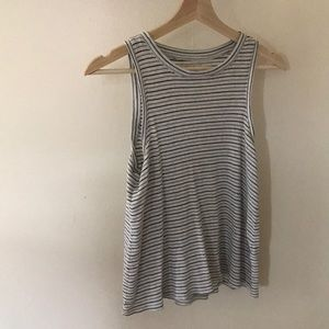 Madewell tank - black and olive stripes